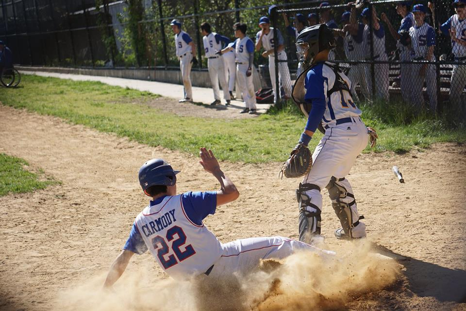 Simon Carmody, pinch-running for Jack Archer who doubled, scores on a single by Dean Steinman