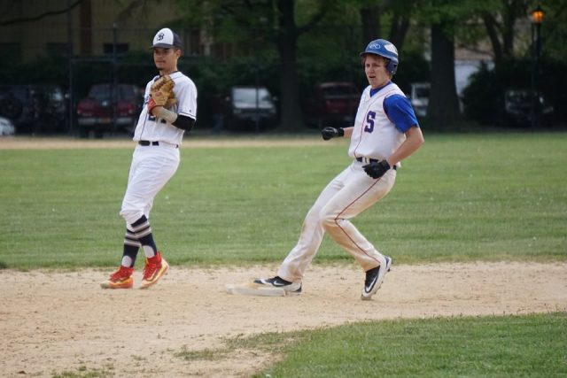 Tobias Lange pulls into second base in the 5th inning vs. John Bowne