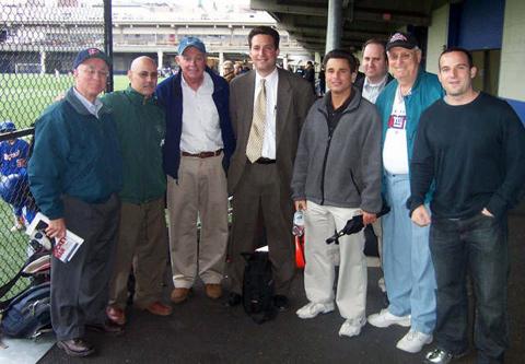 L-R: Stephen Franciosa '68, Lou Digilio '76, Coach Sharkey, George Raikos '81. Alan Fisher '70, Michael Whitman '87, Art Horowitz '53, Ian Berger '94