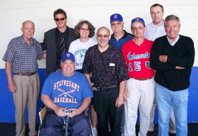 Back - Coach Charles Sharkey, Eric Bellucci ('98), Stuy Athl. Dir. Martha Singer, Art Horowitz ('53), Tim Nikol ('99) Front - Coach Matt Hahn, Lou Digilio ('76), Joe Levine ('54), Milo Misut ('49)