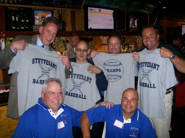 Back: Tom Dyevich '77, Lou Digilio '76, Jeff Shikowitz '77, Bill Sablesak '76; Front: current Coaches Matt Hahn, John Carlesi