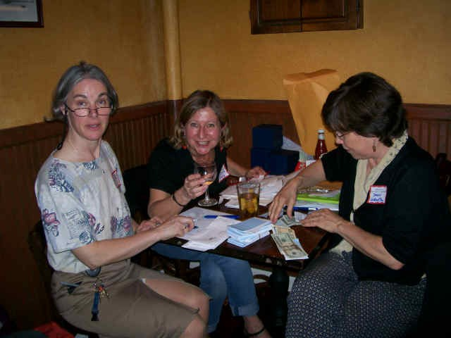 Mudville volunteers Jane Ritter, Isabelle Jouanneau, Dawn Wheatley