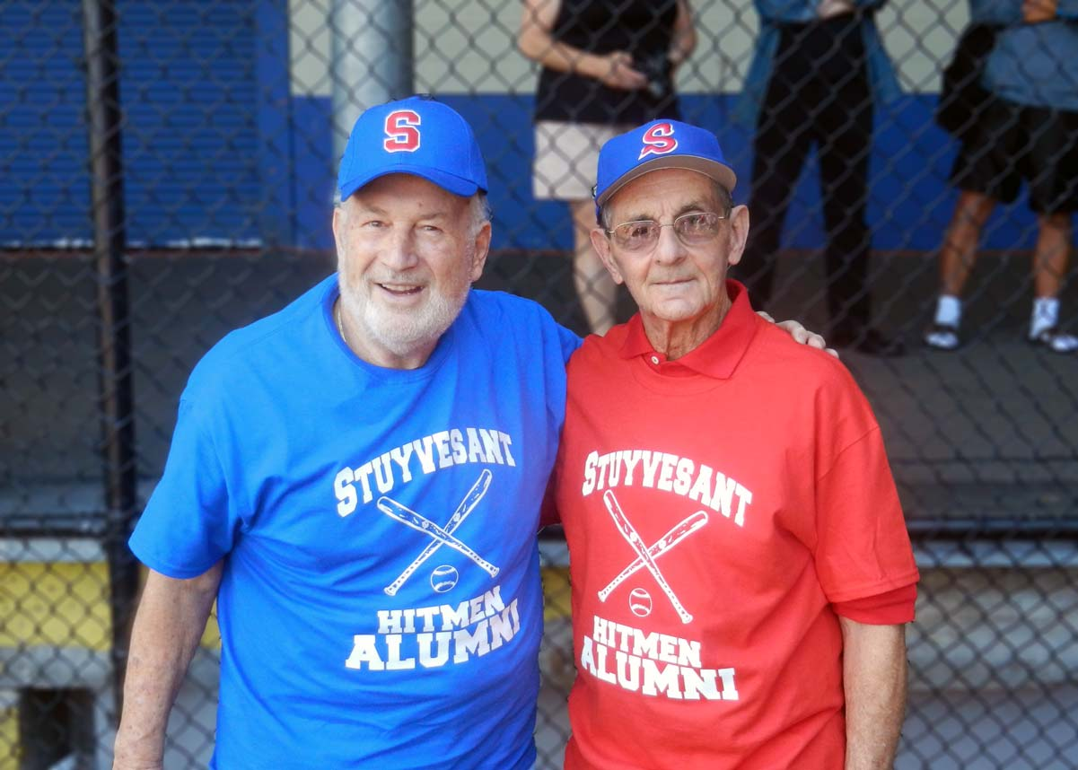 Donald Ferraraand Joe Levine ready to throw out the first pitch.