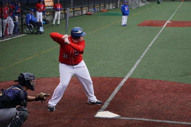 Justin Heinze at the plate.