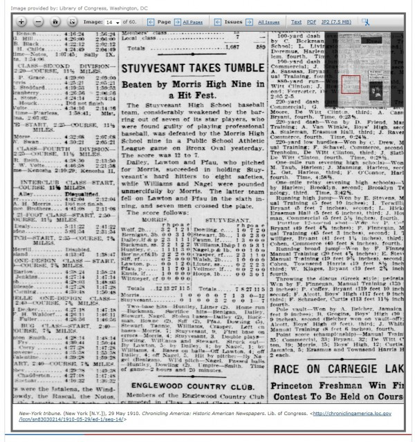 Stuyvesant Takes Tumble - from: New York Tribune May-29-1910 Page 14